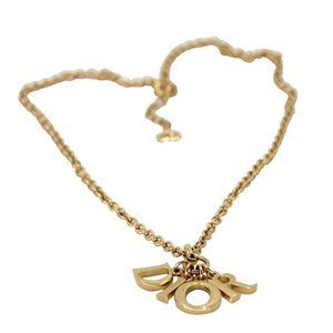 Dior Gold Plated Christian Chic Charms Necklace